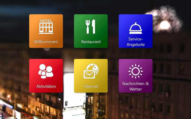 Ein interaktives Display mit Beispiel-Inhalt. Alle relevanten Inhalte auf einen Blick